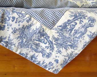 Vintage, Cotton Tablecloth, Woven, Double sided, Reversible, Colonial theme, 50's style, Table linens, Rectangle tablecloth, Vintage fabric