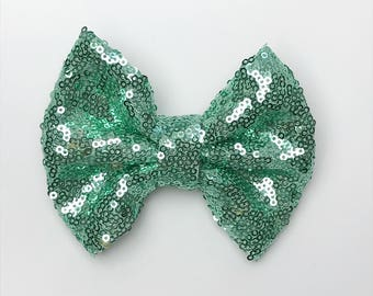 Mint Sequence Bow, Baby bows, girl bows, hair bows, classic bow, handmade bows