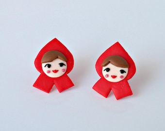 Little Red Riding Hood - tiny, cute earrings