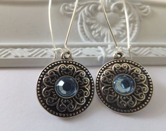 Antique Silver with Blue Diamonte Charm Earrings with Nickel free hooks - long kidney hooks and short leverback hooks