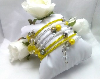 Yellow and White Memory Wire Wrap Bracelet, Wrap Bracelet, Handmade Beaded Wrap Bracelet, Womens Bracelet, Handmade, Bracelet, Gift