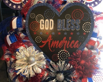 Patriotic Wreath and Matching Garland   Can be purchased separately 35.00 each