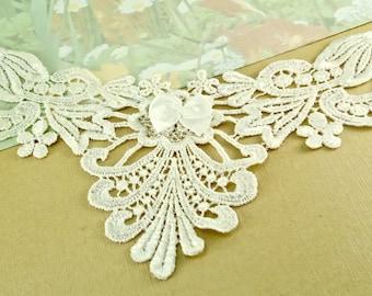 Venice Lace Appliqué Trim Ivory Yolk Neck appliqué diy wedding sewing notions lace patch Yoke lace for sewing