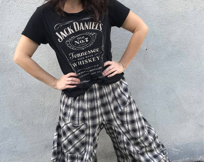 One size Lagenlook pant in plaid flannel cotton