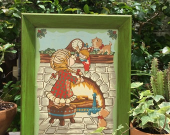 VINTAGE DECOR...Christmas paint by numbers/little girl/stocking/mantle - green framed wood- rustic painting on board- nursery framed art