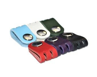 Purple Leather Headphone Holder / Leather Earphone Organizer, Cord Keeper / Cable Organizer, Earbud Holder, Leather Cord Holder