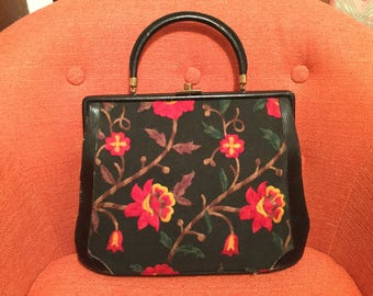 Vintage 1950s Etra Embroidered Flowers, Twill and Leather