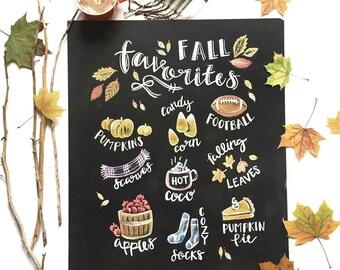 Fall Chalkboard Print - Fall Print - Fall Art -  Chalk Art - Chalkboard Print -  Fall Decor