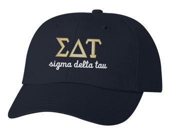 Sigma Delta Tau, SDT, Sigma Delta Tau hat, SDT hat, SDT baseball hat, sdt ball cap, sorority hat, sorority gift, greek apparel, greek hat