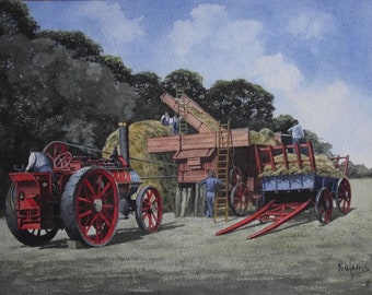 Original Watercolour Painting of Threshing Day on the Farm Harvest time in England