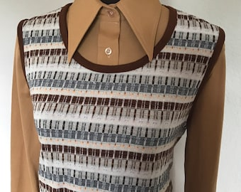 1970's Sears Blouse with Knit Sweater Vest