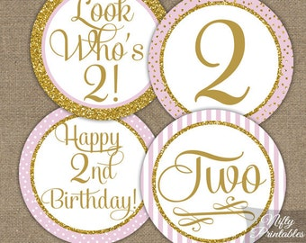 2nd Birthday Cupcake Toppers - Second Birthday Pink & Gold Glitter Printable - DIY Girls 2nd Bday Favor Tags or Two Years Stickers - PGL