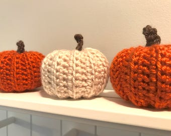 Crochet Pumpkin in Cream, Rustic Autumn Decor, Stuffed Pumpkin