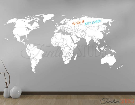 World map wall decal world map decal with antarctica world world map wall decal world map decal with antarctica world map wall art home decor dry erase chalkboard vinyl sticker white black v007 gumiabroncs Image collections