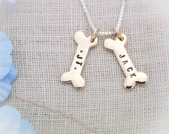 Personalized Dog Bone Necklace, Dog Lover Gift, Bone Necklace, Gifts for Dog Lovers, Gifts for Her, Hand Stamped Personalized Necklace