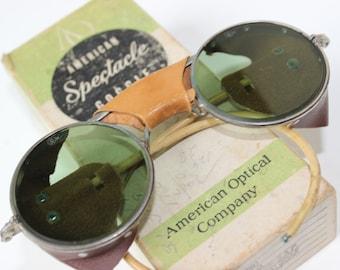 Vintage Sonnenbrillen Brillen WWII Pilot uns Steampunk grün Objektive amerikanische Spektakel Goggle amerikanischen optische Firma