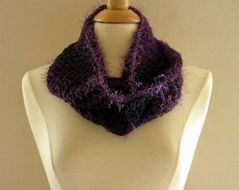 Crocheted Womens Shades of Purple Infinity Scarf