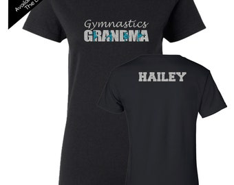 Gymnastics Grandma Shirt with a NAME on the BACK  - Personalize the Colors  - Beautiful Glitter - Gifts for Mom - Gifts for a Gymnastics mom