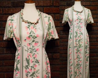 Vintage 60s Gay Gibson Floral Maxi Dress Women's M / Size 10