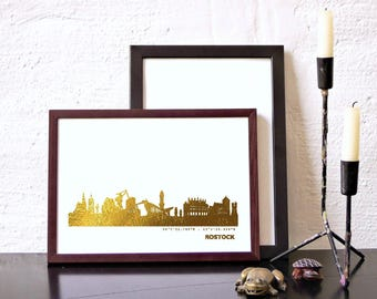 ROSTOCK art print gold, ROSTOCK trend poster, urban gold ROSTOCK skyline, perfect anniversary gift, art work Rostock, home office decor gold