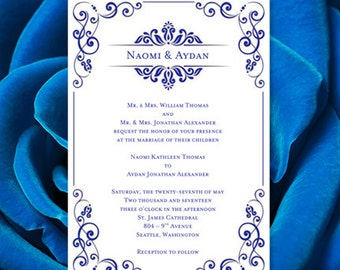 "Wedding Invitation Template ""Julia"" Royal Blue Printable Word.doc Make your own Wedding Invitations ALL Colors Av. DIY You Print"