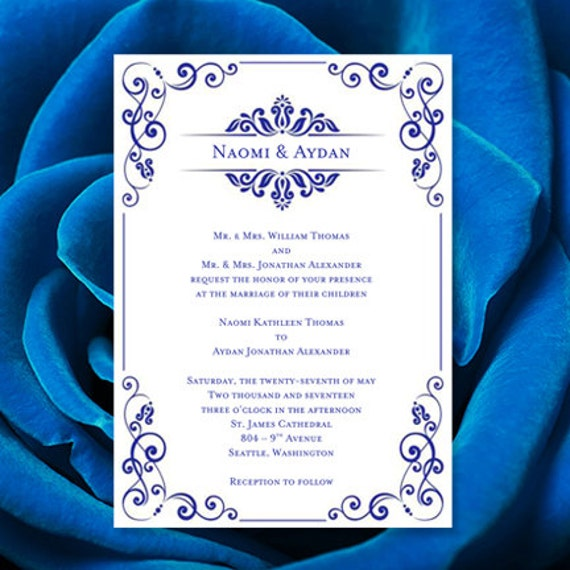 Wedding Invitation Template Julia Royal Blue - Make your own wedding invites templates