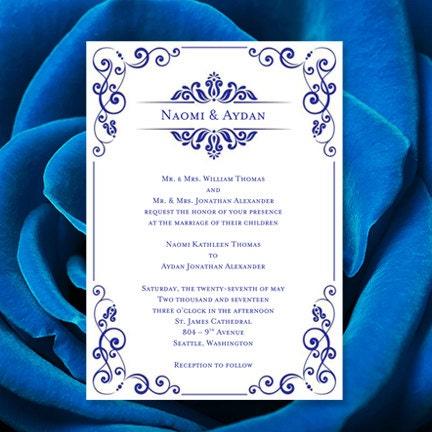 wedding invitation template julia royal blue. Black Bedroom Furniture Sets. Home Design Ideas