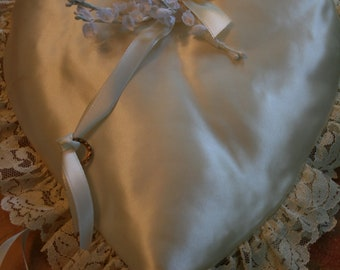 Vintage Satin & Lace Ring Bearer Heart Shape Pillow