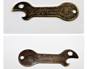 Antique 1910 Blatz Beer Brass Bottle Opener, JFO B-2
