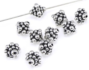 10 Silver Beads 8mm PAMADA Antique Silver Bali Beads by TierraCast Pewter - Bicone Shaped Metal Beads (PS119)