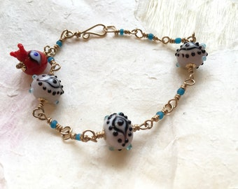 Eye Bead Bracelet with Gold Fill Wire
