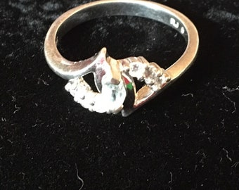 Sterling Silver White Topaz Ring, size 9