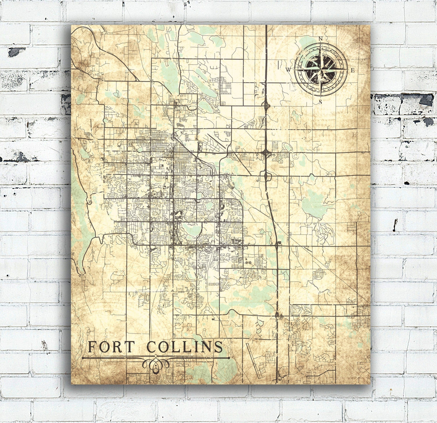 FORT COLLINS CO Canvas Print Colorado Vintage map Fort Collins