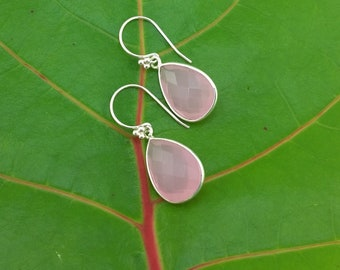 SILVER SUMMER IV: Faceted Strawberry Ice Cream Pink Chalcedony Teardrops in Silver