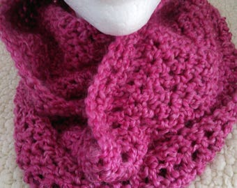 A beautiful crocheted infinity scarf