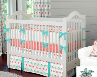 Neutral Crib Bedding, Girl Baby Crib Bedding, Boy Baby Bedding: Coral and Teal Arrow Crib Bedding - Fabric Swatches Only