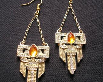Orange Earrings, Art Deco, Great Gatsby Jewelry, Orange, Wedding Jewelry, Art Deco Earrings, Chandelier Earrings, Topaz, Rhinestones, Gold
