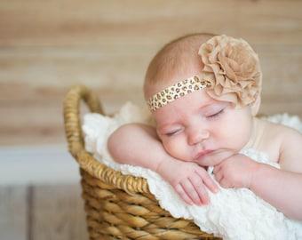 Leopard Baby Headband - Leopard Baby Bow - Baby Animal Print - Baby Photo Prop - Baby Hairbows - Newborn Headband - Infant Headband
