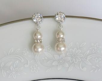 Bridal Earrings Pearl Bridal Earrings Crystal Earrings Bridal Jewelry Wedding Jewelry
