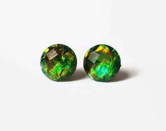 Green Fire Opal Stud Earrings, Faux Opal Earrings, Green Fire Opals,Fire Green, hypoallergenic studs, 12mm studs, stainless steel studs