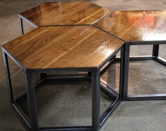 Hexagonal Nesting Tables   Black Walnut And Steel