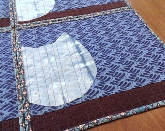 Cats, Placemats, Japanese style  - set of 4 - Blue