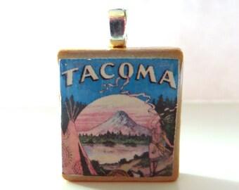Tacoma  -  vintage sheet music Scrabble tile pendant