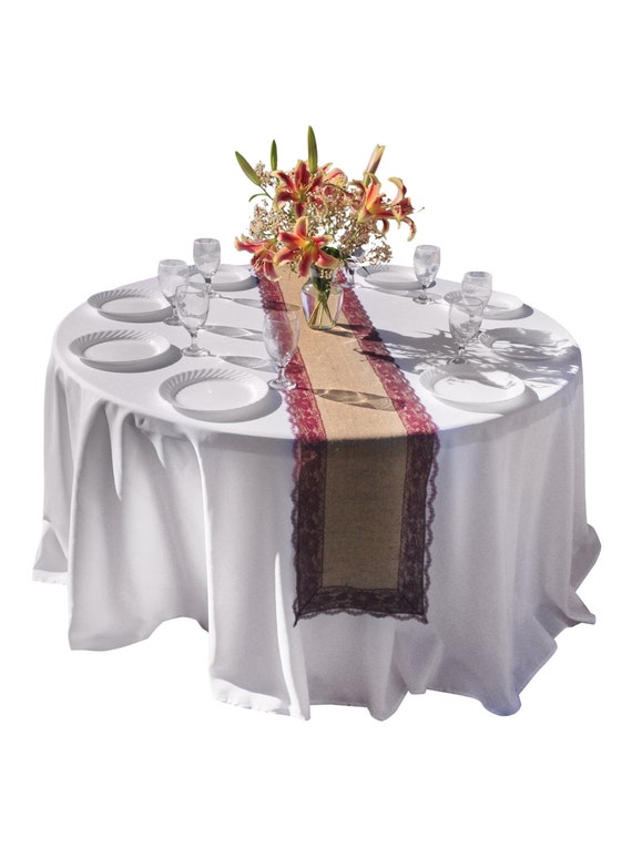 Burlap Table Runner BURGUNDY RED / WINE Lace Wedding Table