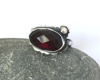 Garnet and Sterling Ring size 8.5
