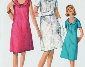 Vintage 60s MOD A Line Shift Dress with Scooped Neckline Sewing Pattern Simplicity 6440 1960s Sewing Pattern Size 12 Bust 32 UNCUT