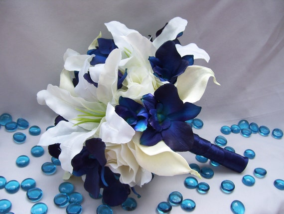 Michaels silk bridal bouquet with blue violet dendrobium mightylinksfo Images