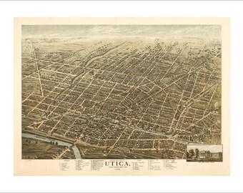 "Utica New York in 1873 Panoramic Bird's Eye View Map by Herman Brosius 22x17"" Reproduction"