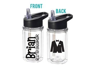 Personalized Kids Water Bottle Ring Bearer Gift Flower