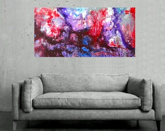 Original Abstract Painting - Textured Colorful Modern Fluid Contemporary Acrylic Painting on Canvas